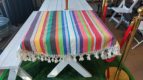 90u2033 Round Cotton Mexican Tablecloth | Parlani Party Rentals | Los Angeles,  CA. | Parlani Party Rentals And Supplies